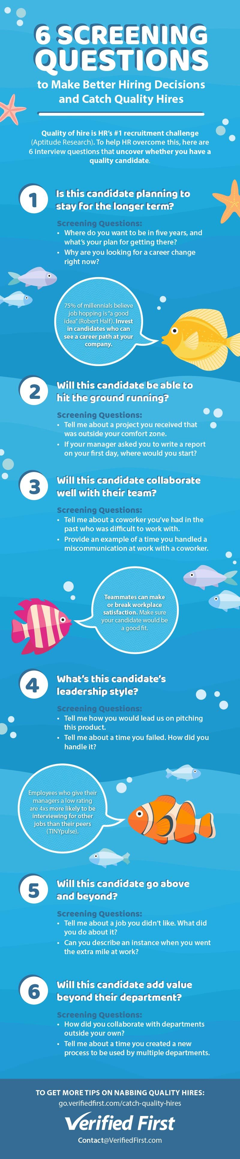 Six Screening Questions Catch Quality Hires Infographic Verified First