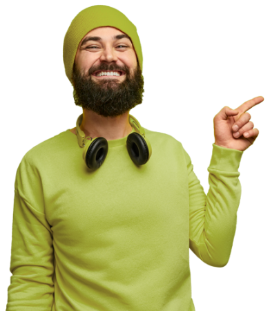 man-in-green-pointing